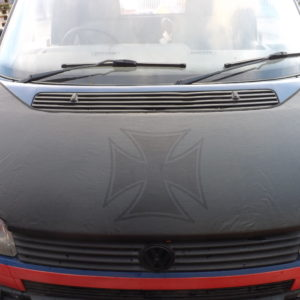 VW T4 S.Nose Bonnet Bra, Cover Silver Iron Cross