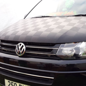 Black / Black Checkered Bonnet Bra / Cover For VW T6 Transporter