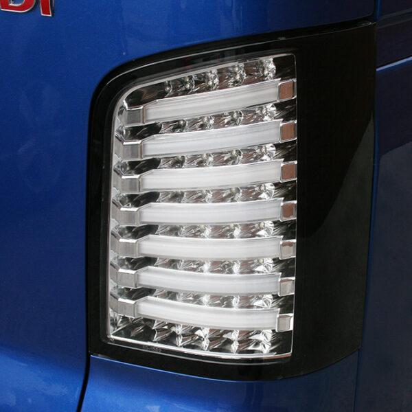 VW T5 LED Rear Lights MK1 Tailgate Clear Lens / Chrome Housing