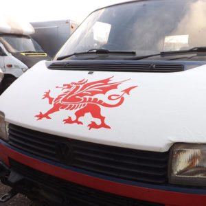 VW T4 S.Nose Bonnet Bra, Cover White Welsh Dragon