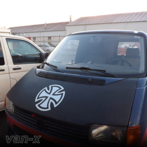 VW T4 S.Nose Bonnet Bra, Cover Silver French Cross