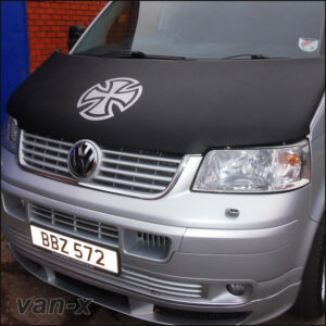 VW T5, Bonnet Bra / Cover Silver French Cross