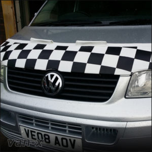 VW T5 Half Bonnet Bra / Cover White Chequered With Wind Deflectors