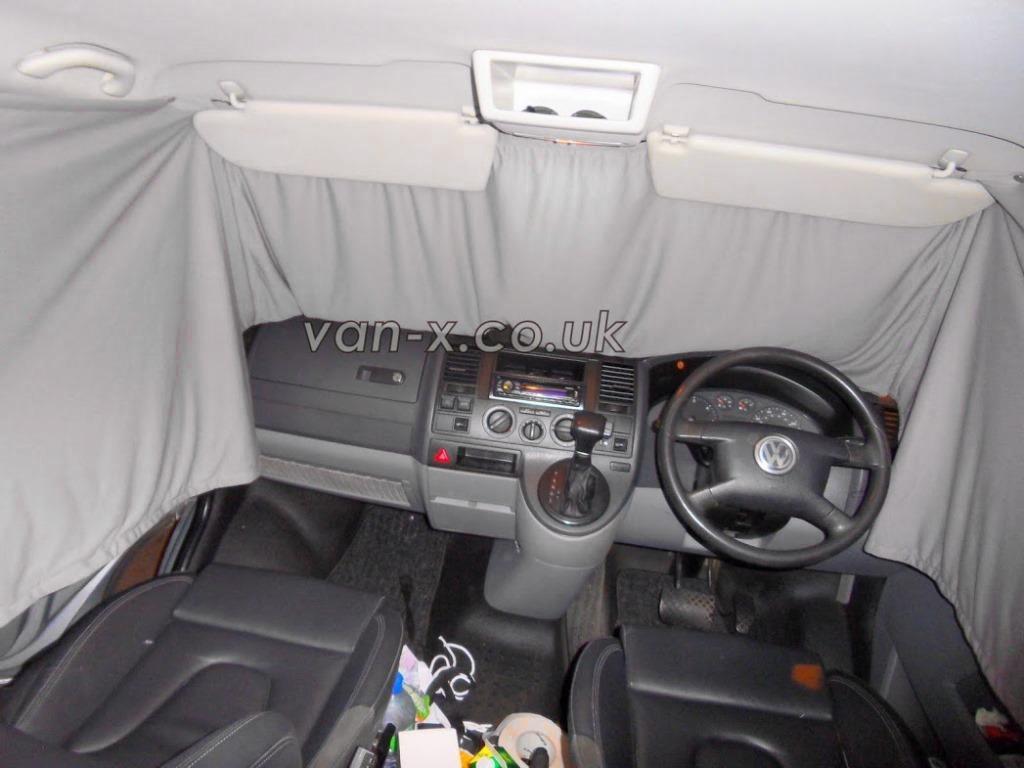 Mercedes Sprinter VW LT curtains set for 2 side windows black color.